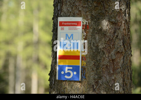 Sign, signpost, footpath, Upper Palatinate, Bavaria, Germany, - Stock Photo