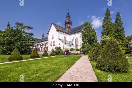 Germany, Hessen, Rheingau area, Eltville am Rhein, cloister Eberbach, monastery gardens with basilica, - Stock Photo
