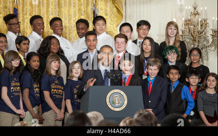 United States President Barack Obama speaks at the White House Science Fair to students on April 13, 2016 in Washington - Stock Photo
