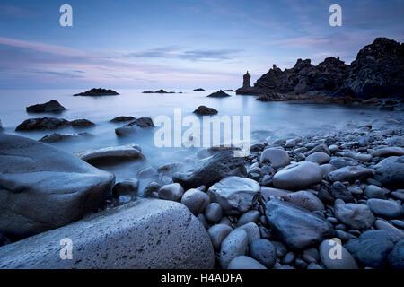 Iceland, Grindavik, surf, coast, blue hour, - Stock Photo
