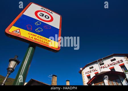 30-km/h zone in La Massana, Andorra, - Stock Photo