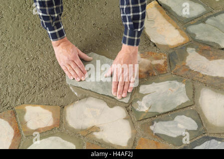 Building site, shell construction, Trass, lay, man, hand - Stock Photo