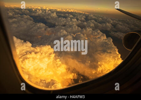 view from airplane window, Condor, aerial view, airplane, - Stock Photo