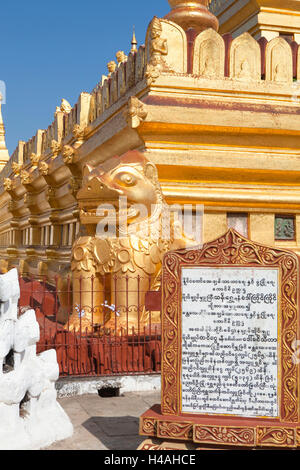 Shwezigon temple in Bagan, Myanmar - Stock Photo