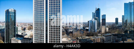 Frankfurt on the Main, Hesse, Germany, skyline view with Opernturm and Park Tower in the foreground - Stock Photo