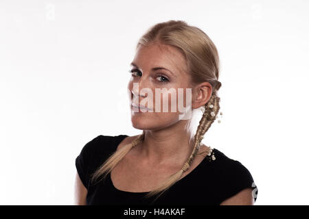 Instructions double fishbone plait step 2 of 2 with accessories - Stock Photo