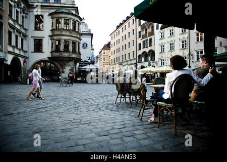 Street cafe in Munich, Germany, Europe, - Stock Photo