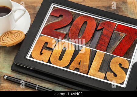 2017 goals banner - New Year resolution concept - text in vintage letterpress wood type printing blocks - Stock Photo