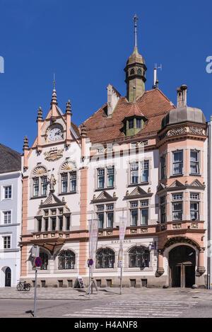 Austria, Upper Austria, Innviertel, Braunau on the Inn, town square, Gothic, city hall, - Stock Photo