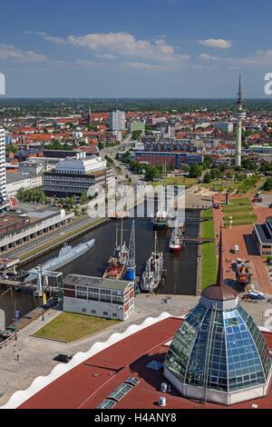Atlantic hotel of Sail city lookout on museum harbour, directional radio tower, harbour, overview, Germany, Bremerhaven, - Stock Photo