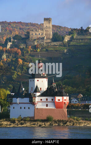 Toll castle Pfalzgrafenstein on an island in the Rhine near Kaub, in the background castle Gutenfels, - Stock Photo