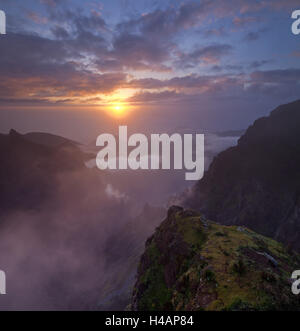 Sunrise at the Miradouro Ninho da Manta, Arieiro, Madeira, Portugal, - Stock Photo