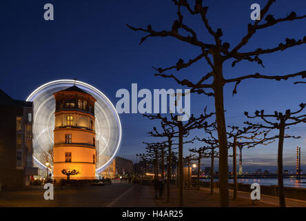Germany, North Rhine-Westphalia, Dusseldorf, Old Town shore with navigation museum, big wheel, bank promenade, Rheinkniebrücke, - Stock Photo