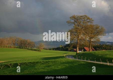 Switzerland, Fribourg, rain clouds passing over the alpine upland, - Stock Photo