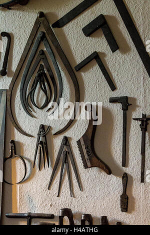 Old Hand Tools On Display At Vintage Show Stock Photo