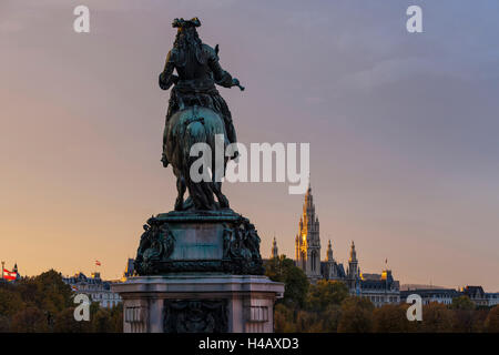 Europe, Austria, Vienna, city hall, Prince Eugene monument - Stock Photo