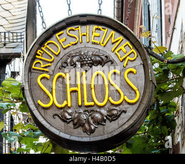 Pub sign, Rudesheim, .Rhine Gorge, Germany, Europe - Stock Photo