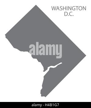 Modern Map Washington DC USA Federal State Illustration - Us map washington dc