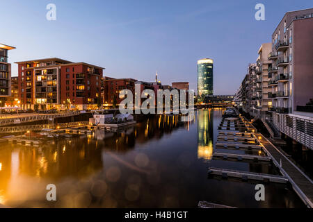 Germany, Hesse, Frankfurt on the Main, view at the apartment houses in the Westhafen with the Westhafen Tower in - Stock Photo