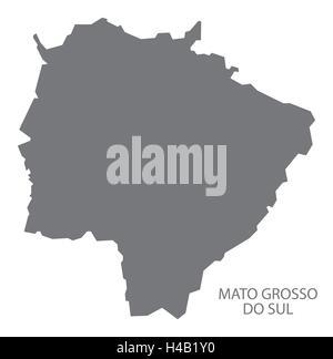 Mato Grosso do sul Brazil map in grey. - Stock Photo