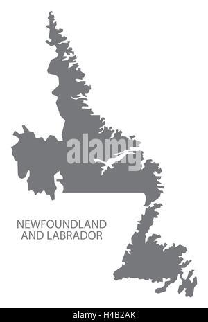 Newfoundland and Labrador Canada Map in grey - Stock Photo