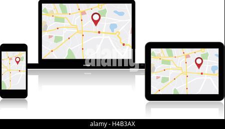 GPS Navigation map on on media technology devices - Stock Photo
