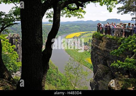 View from the Basteifelsen, spectacular, lookout, tourists, Elbtal, health resort Rathen, Saxon Switzerland - Stock Photo