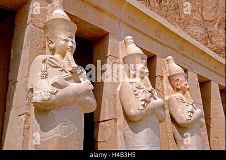 Queen Hatshepsut, female Pharaoh, terrace temple, Valley of the Queens, Thebes west, Upper Egypt - Stock Photo