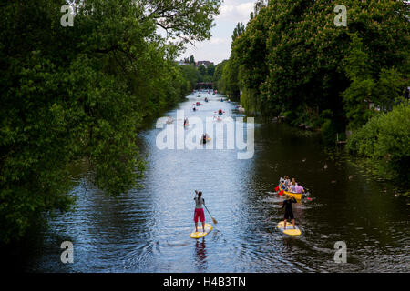 Alster channel Goldbekufer with pedal boats in Hamburg, Germany - Stock Photo
