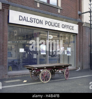 Police station in the London East End, deprived area, after the riots in summer, 2011, - Stock Photo