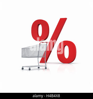 Shopping cart with red percent sign, background white, - Stock Photo