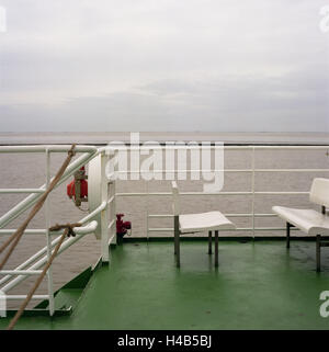 deck of a ship, railing, benches, detail, - Stock Photo