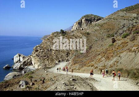 Greece, Dodekanes, island Fondling, cape agio Fokas, Embros Therme, mountain, way, pedestrian, sea, island group, - Stock Photo