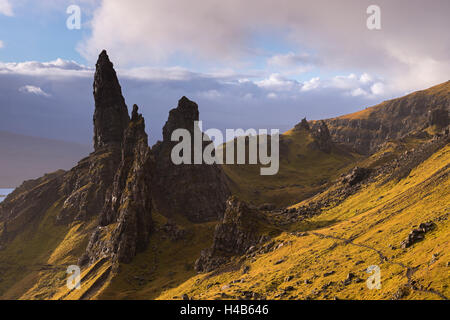 The Old Man of Storr basalt pillars on the Isle of Skye, Scotland. Autumn (November) 2012. - Stock Photo