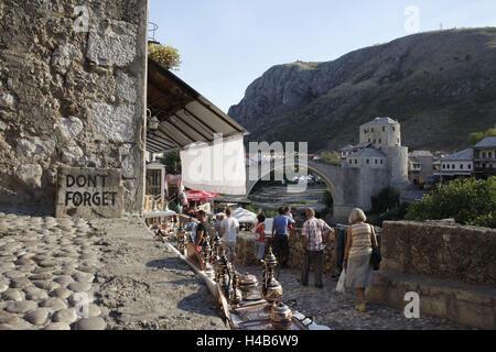 Europe, Bosnia-Herzegovina, Mostar, tourists, bazaar, bridge Stari Most, - Stock Photo