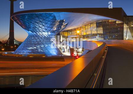 BMW world in the evening light, Germany, Bavaria, Munich, - Stock Photo