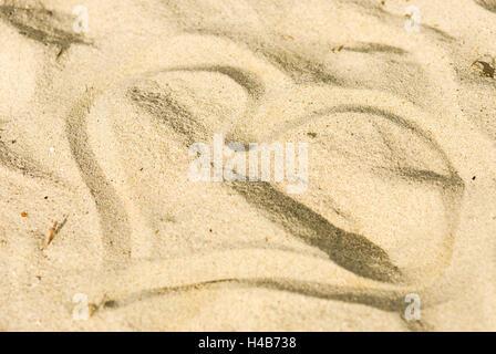 Heart, sand, beach, symbol, vacation, love, - Stock Photo