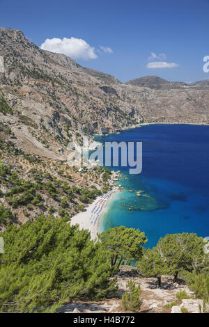 Greece, Karpathos, Apella, bathing bay, bird's-eye view, - Stock Photo
