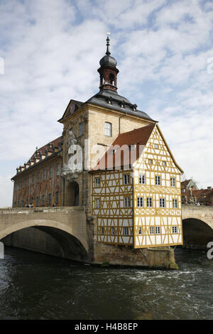 Germany, Bavaria, Upper Franconia, Bamberg, Brückenhaus, River Regnitz, - Stock Photo
