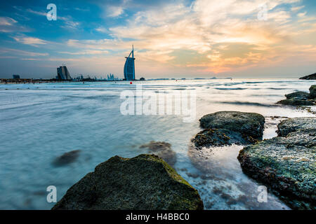 Luxury hotel Burj al Arab and Jumeirah Beach, Burj al 'Arab, Tower of the Arabs, Dubai, Emirate of Dubai, United - Stock Photo