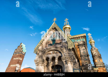 Germany, Hesse, Darmstadt, Russian orthodox chapel and wedding tower on the Mathildenhöhe, Saint Mary Magdalene, - Stock Photo