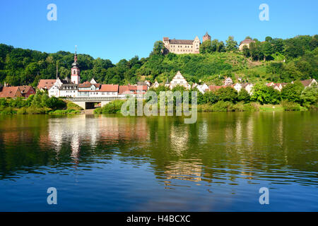 Germany, Bavaria, Lower Franconia, Rothenfels, view over the Main on town and castle - Stock Photo