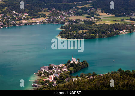 View from the observation tower Pyramidenkogel over the Wörthersee - Stock Photo