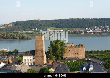 Germany, Hesse, Rüdesheim am Rhein, view at castle Boosen and castle Brömser with the Rhine - Stock Photo