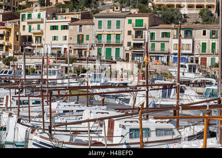 Fishing boats, detail, residential houses in the harbour of Port de Sóller, island Majorca, - Stock Photo
