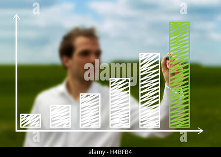 Dynamic businessman presenting a successful sustainable development on a chart with green grass background - Stock Photo