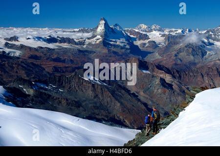 Descent of the Allalinhorn, Switzerland, - Stock Photo