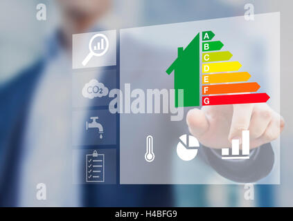 Energy efficiency rating of buildings for sustainable development - Stock Photo