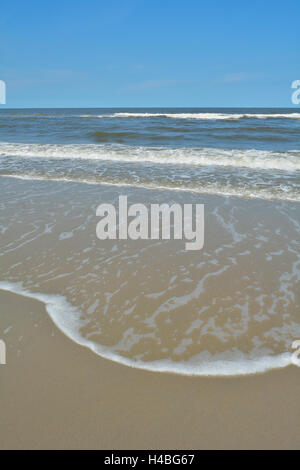 Beach in Summer, Norderney, East Frisia Island, North Sea, Lower Saxony, Germany - Stock Photo