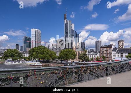Germany, Hessen, Frankfurt am Main, Iron Bridge, Main and Skyline, - Stock Photo